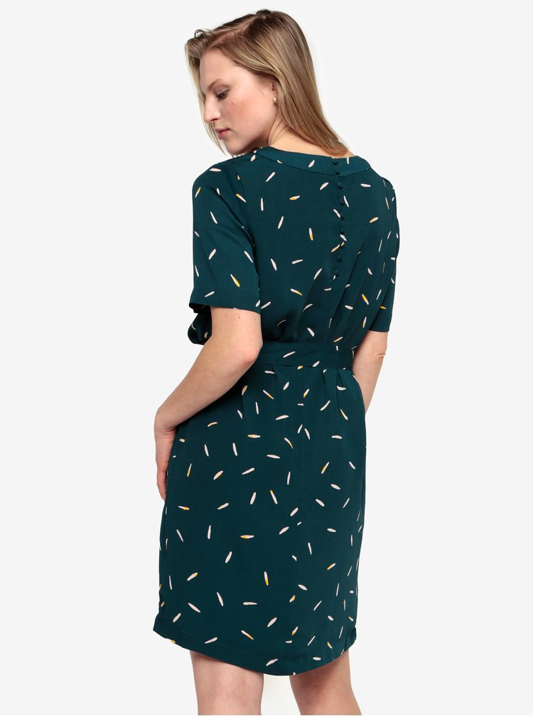Petrolejové vzorované šaty s páskem Selected Femme Catia