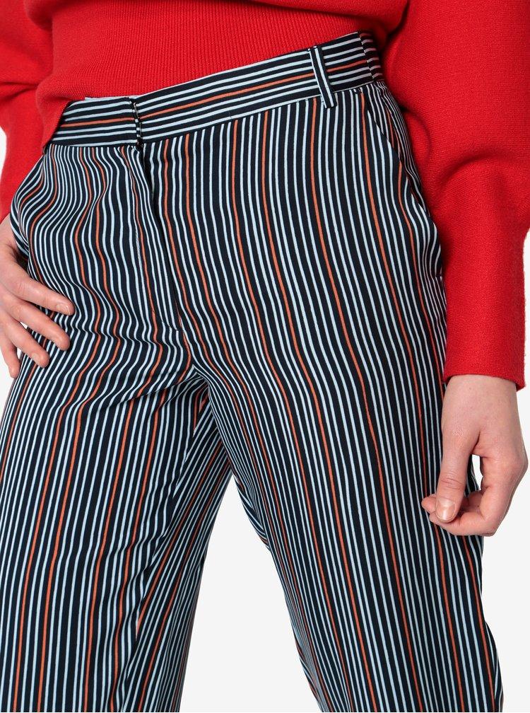 Tmavě modré zkrácené pruhované kalhoty Selected Femme Elisa