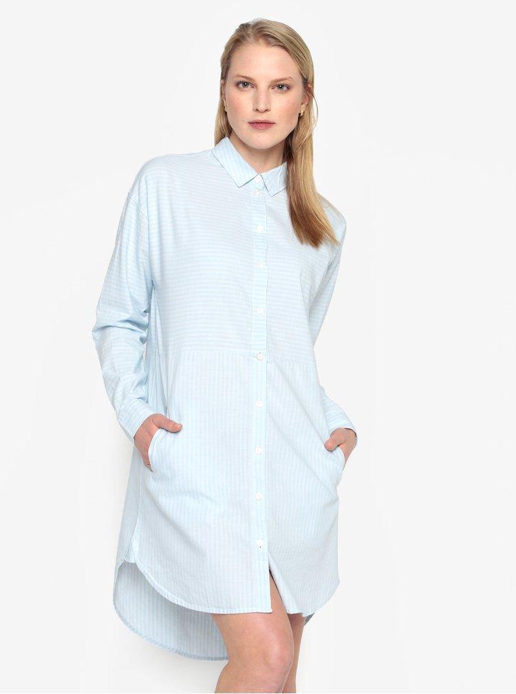 Světle modré pruhované košilové šaty Selected Femme Lillian