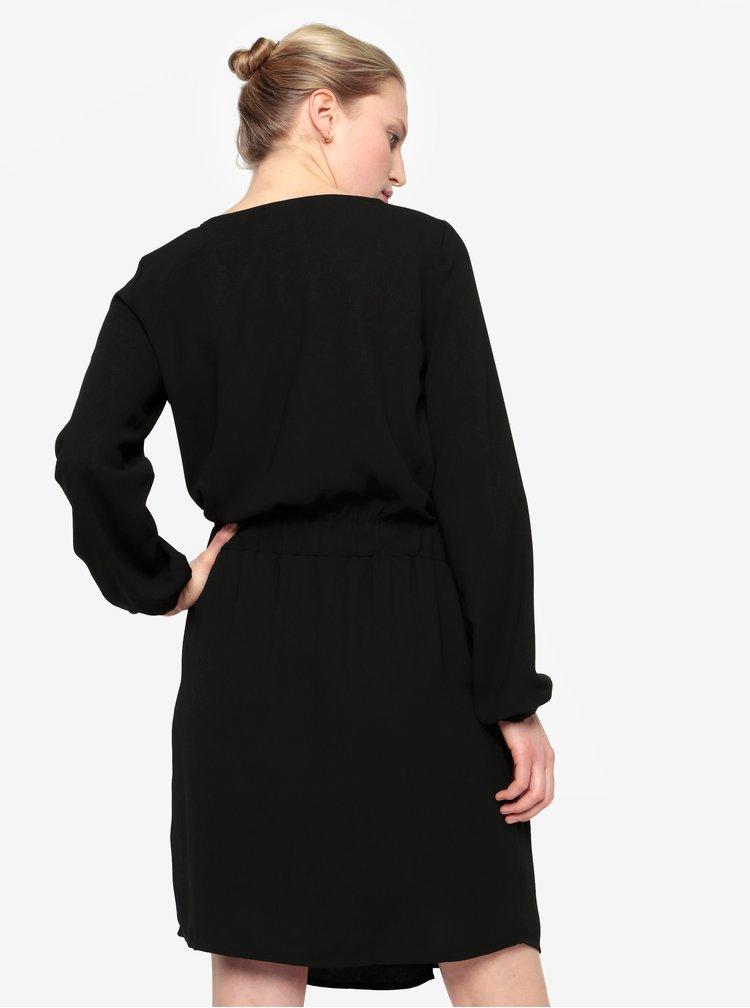 Černé šaty s dlouhým rukávem a stahováním v pase VILA Sarina