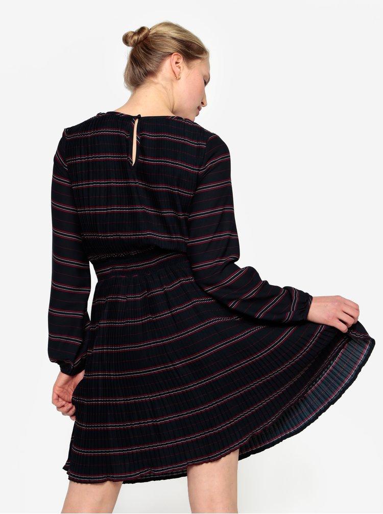 Tmavě modré plisované šaty s dlouhým rukávem VILA Limit