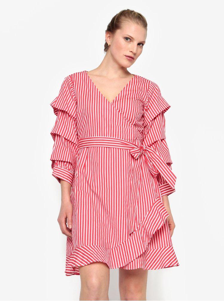Rochie rosie cu dungi crem si volane - VILA Picana