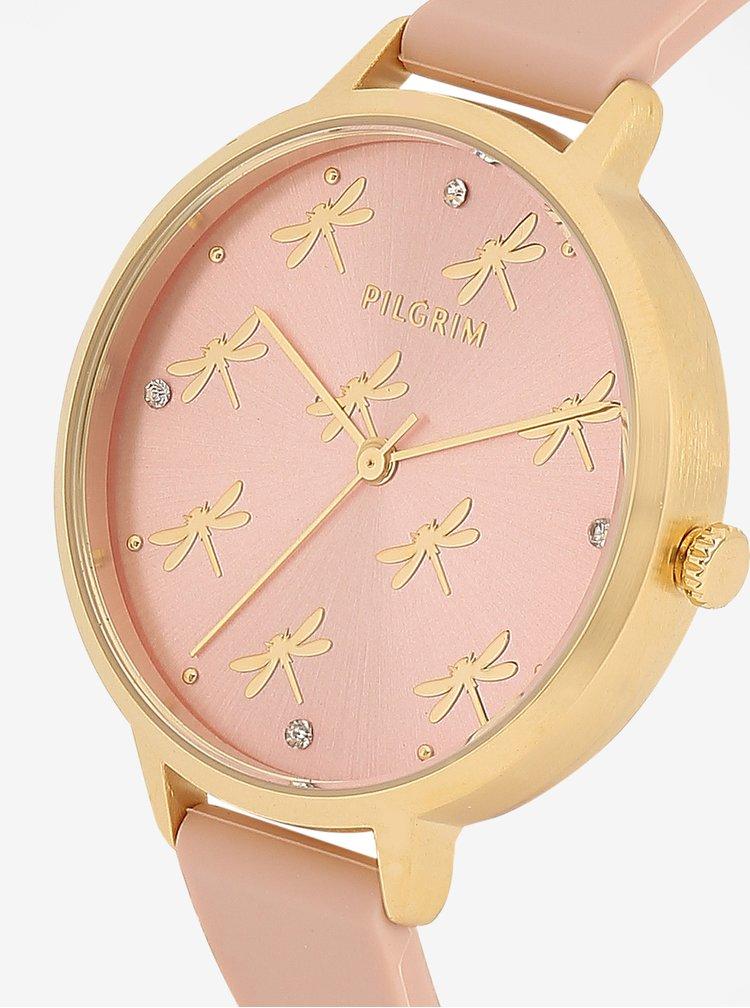 Pozlacené hodinky ve zlaté barvě a tělovým silikonovým páskem Pilgrim Babette
