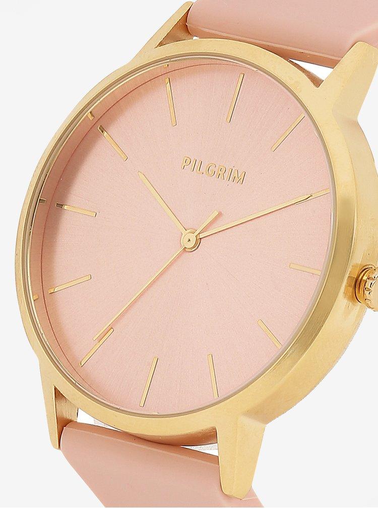 Pozlacené hodinky ve zlaté barvě s růžovým silikonovým páskem Pilgrim Aurelia