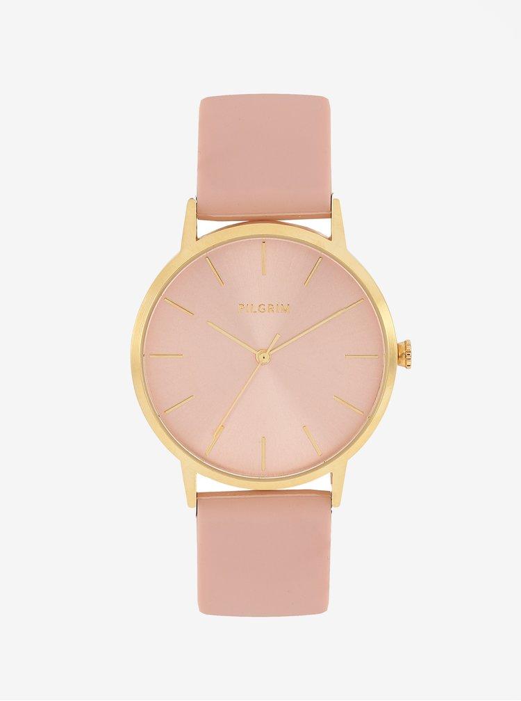 Pozlacené hodinky s růžovým silikonovým páskem Pilgrim Aurelia