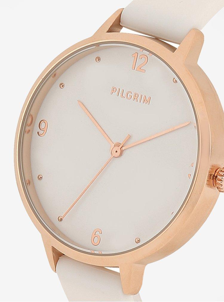 Pozlacené hodinky v růžovozlaté barvě s bílým silikonovým páskem Pilgrim Baia