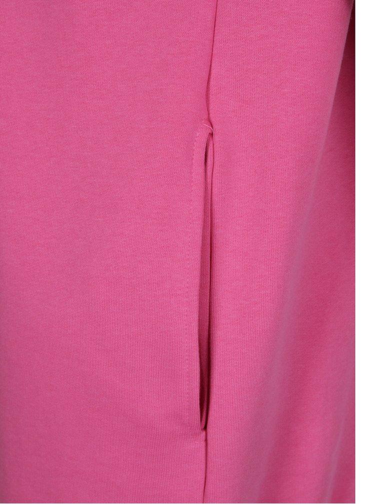 Růžová dlouhá basic mikina se stahovací kapucí ONLY Mynte