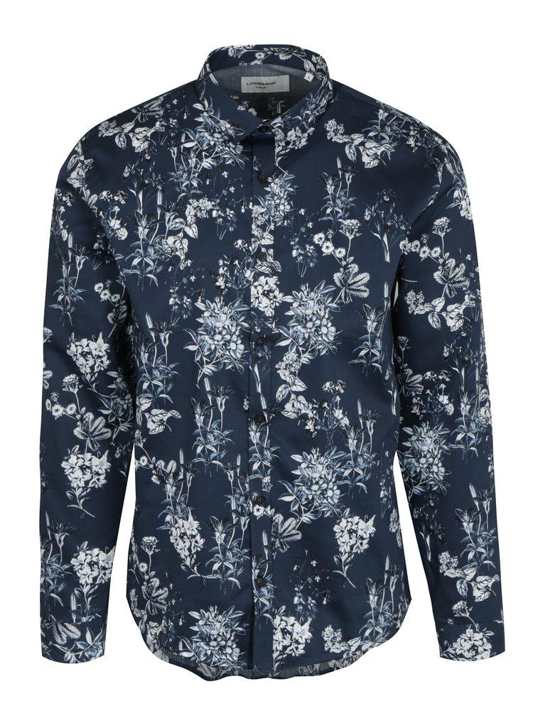 Camasa casual albastru inchis cu print floral - Lindbergh