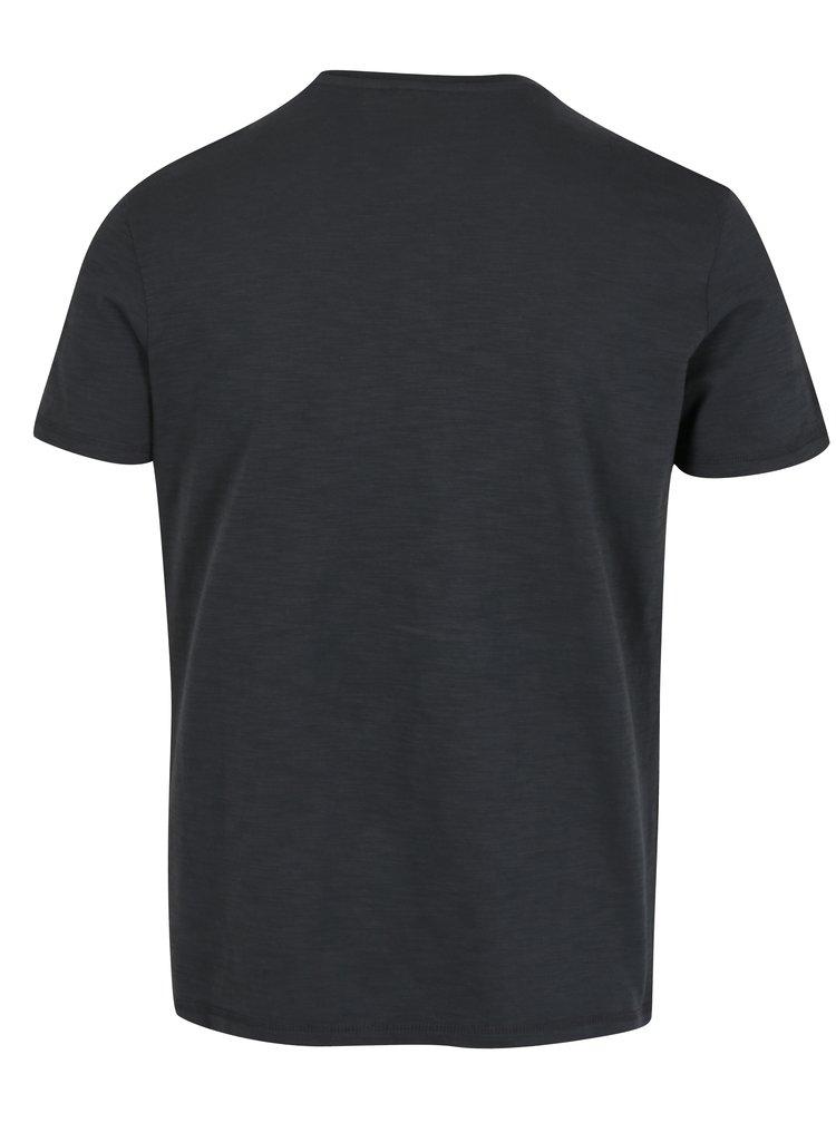 Tricou slim fit gri inchis cu print pentru barbati s.Oliver