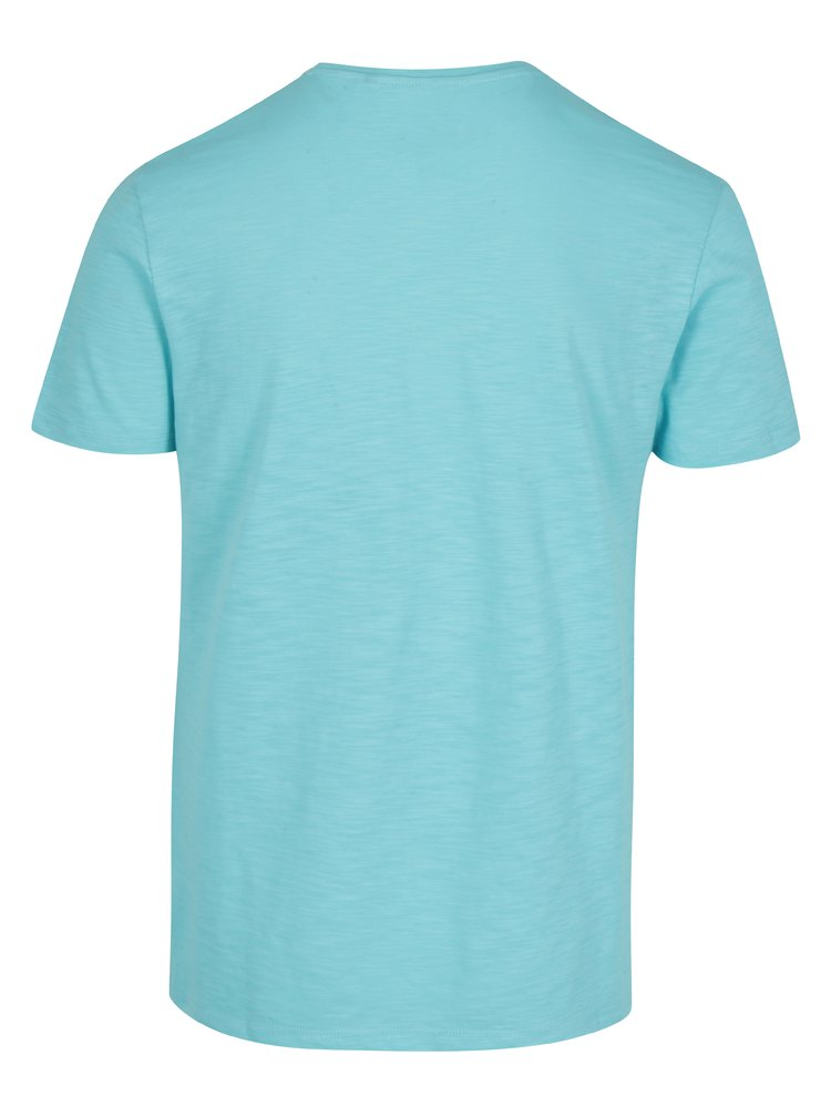 Tricou slim fit turcoaz cu print pentru barbati s.Oliver