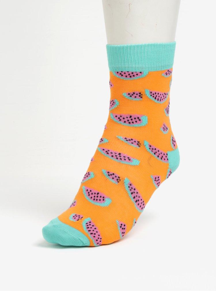 Súprava dvoch párov detských ponožiek v oranžovej farbe Happy Socks Banana
