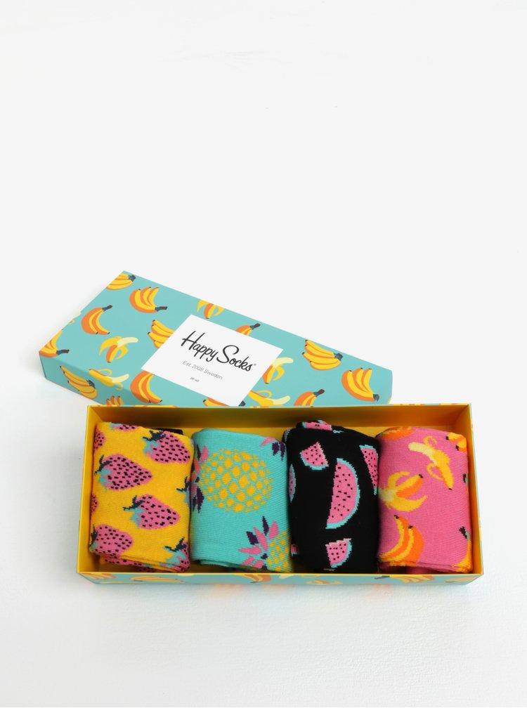 Sada čtyř párů dámských vzorovaných ponožek ve žluté a růžové barvě Happy Socks Fruit