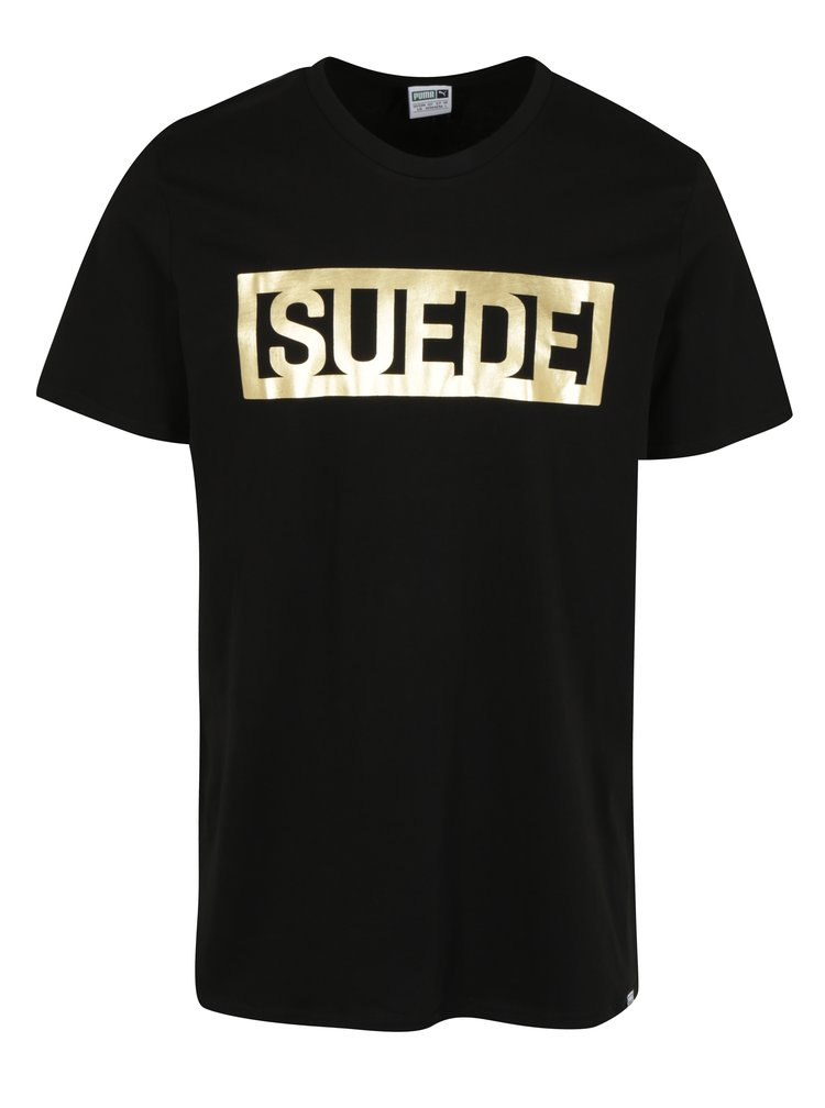 Černé pánské tričko s potiskem ve zlaté barvě Puma