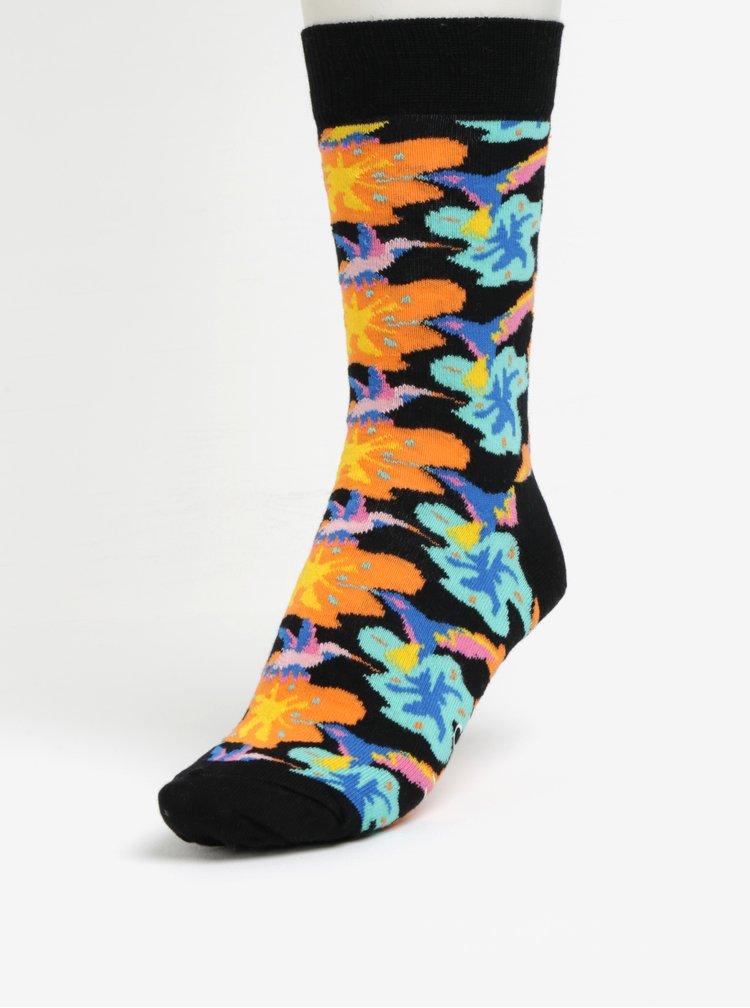 Oranžovo-černé unisex květované ponožky Happy Socks Hummingbird