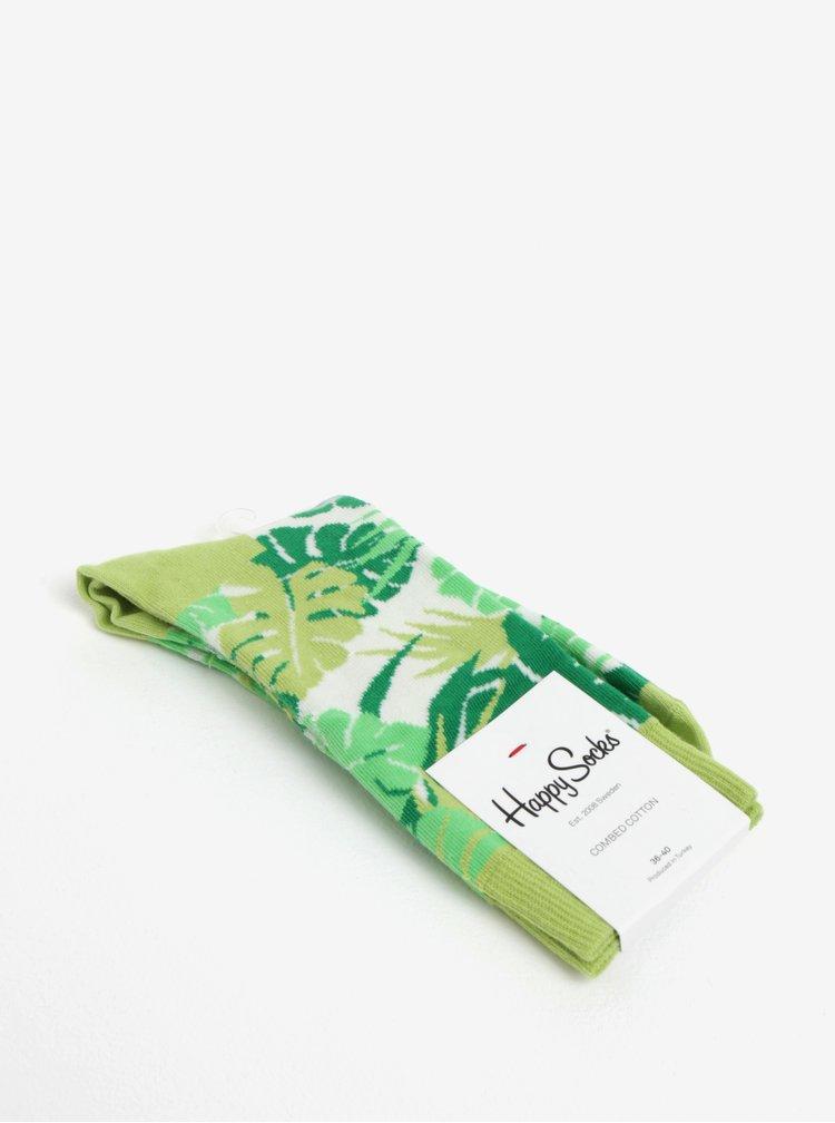 Zelené dámské ponožky s motivem listů Happy Socks Jungle