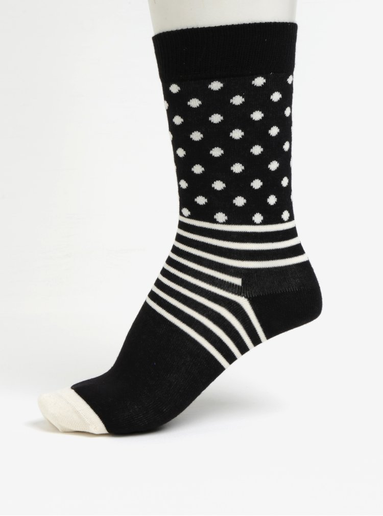 Set de 4 perechi de sosete alb-negru unisex - Happy Socks Black&White