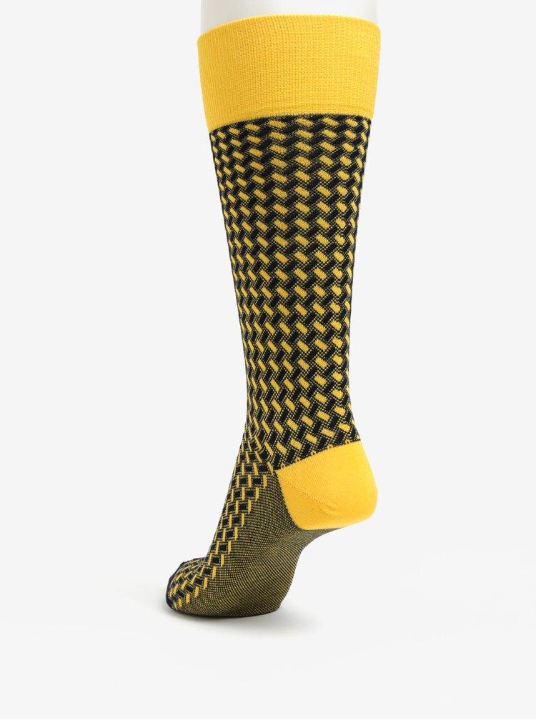 Modro-žluté vysoké vzorované unisex ponožky Happy Socks Dressed Basket Weave