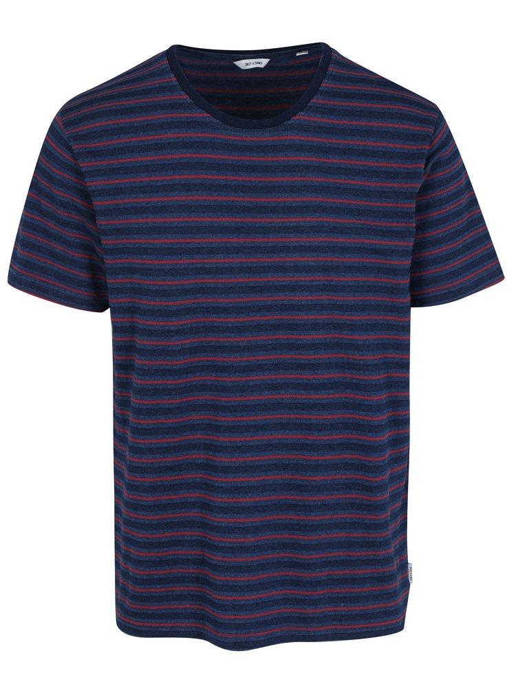 Tmavě modré pruhované tričko ONLY & SONS Indigo