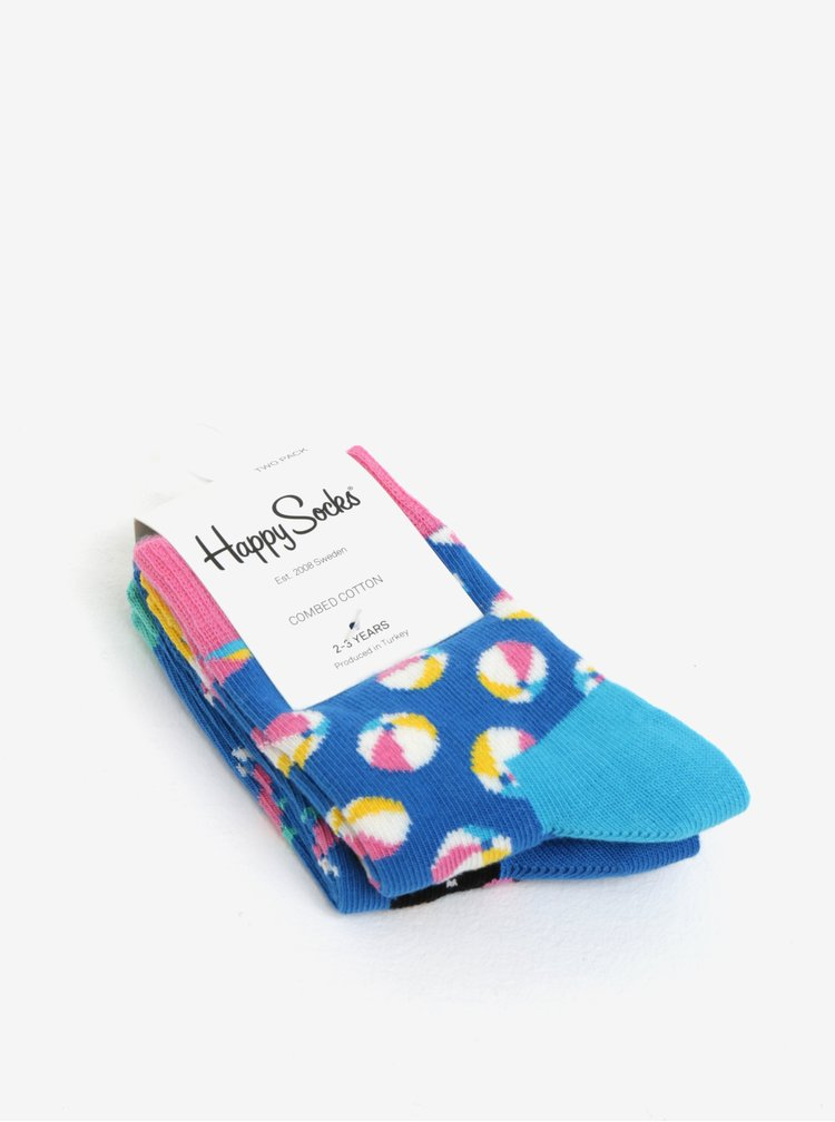 Súprava dvoch párov modrých detských vzorovaných ponožiek Happy Socks Beach Ball