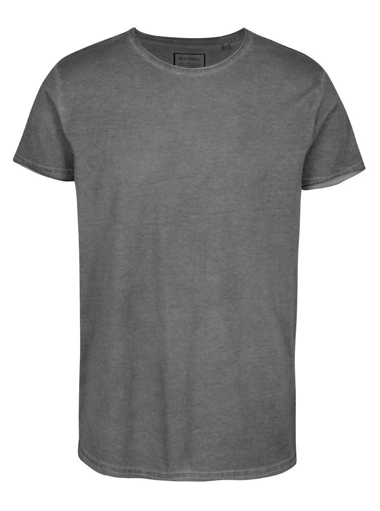 Tricou gri cu aspect usor decolorat si print pe spate Shine Original