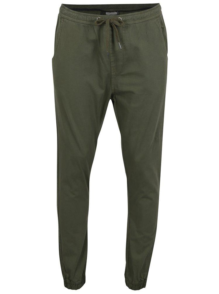 Khaki kalhoty s gumou v pase Shine Original