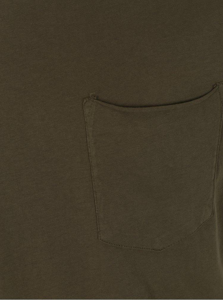 Kaki tričko s vreckom Shine Original