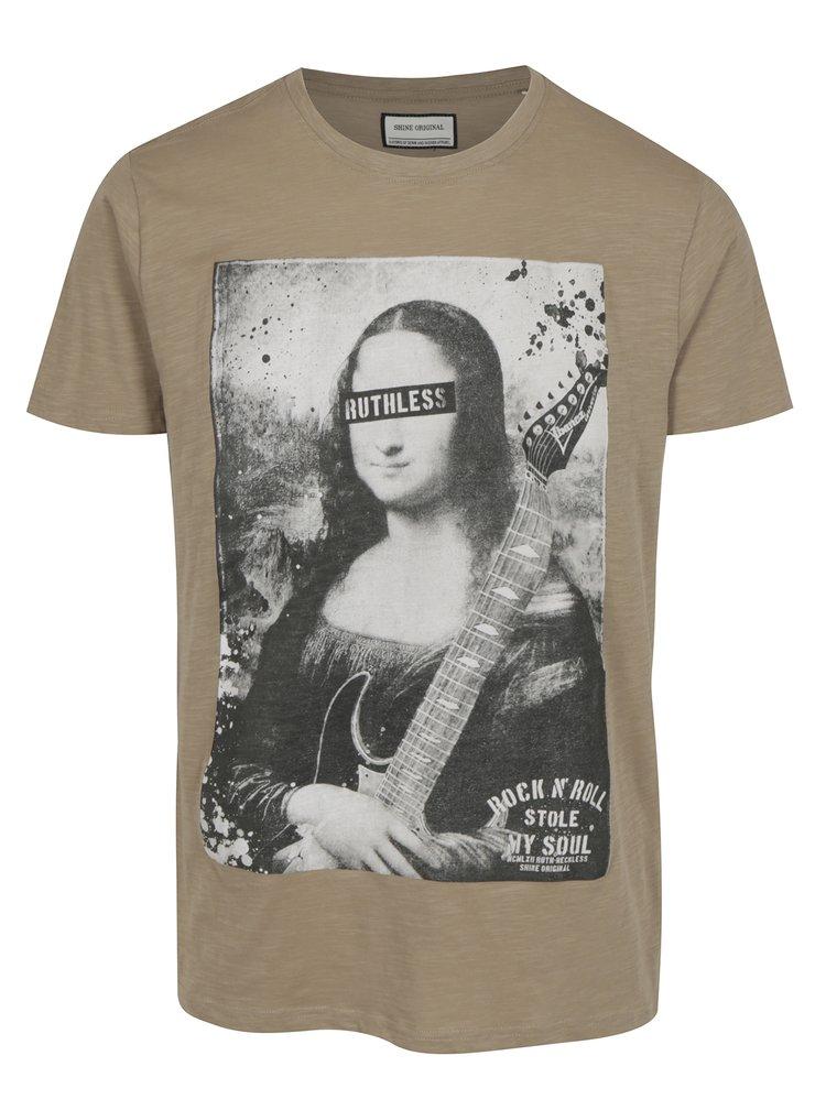 Béžové tričko s potiskem Shine Original Rebel