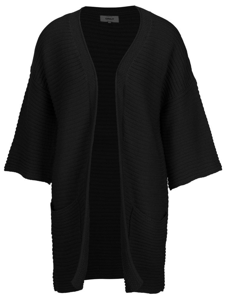 Cardigan negru cu model tricotat si maneci 3/4 - ONLY Milion