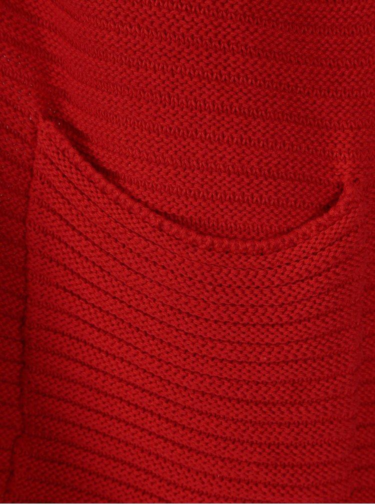 Červený žebrovaný kardigan s 3/4 rukávem ONLY Million