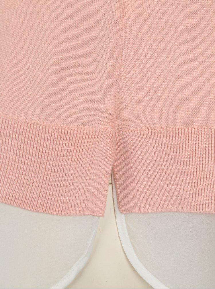 Svetloružový tenký sveter s mašľou a košeľovou vsadkou ONLY Rosana