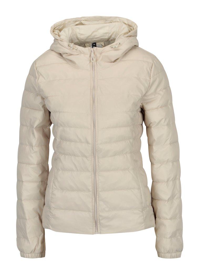 Krémová prošívaná bunda s kapucí ONLY Tahoe