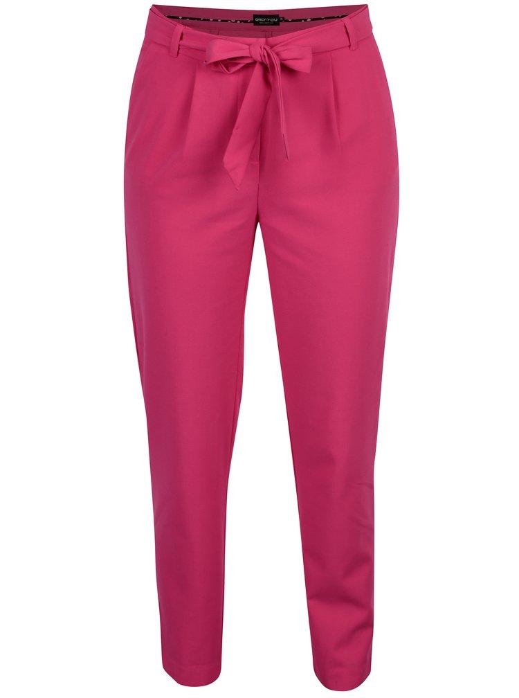Růžové zkrácené kalhoty se zavazováním ONLY Michelle