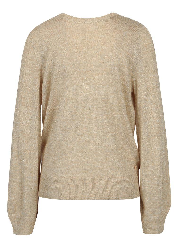 Béžový melírovaný sveter s prekladaným výstrihom ONLY Elani