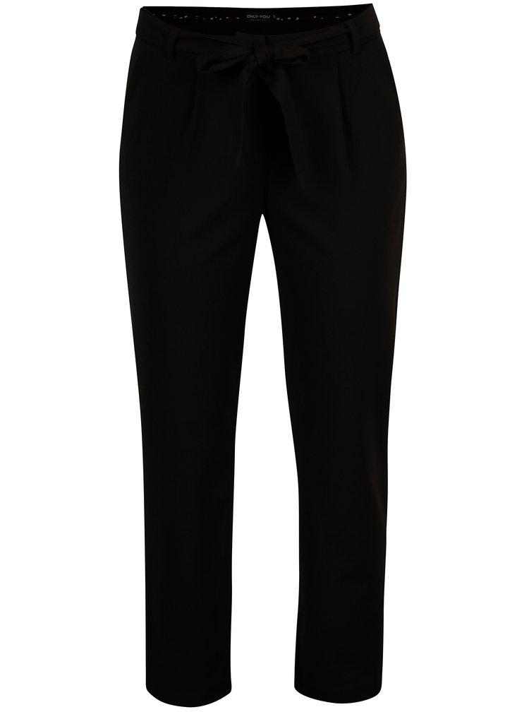 Černé zkrácené kalhoty se zavazováním ONLY Michelle