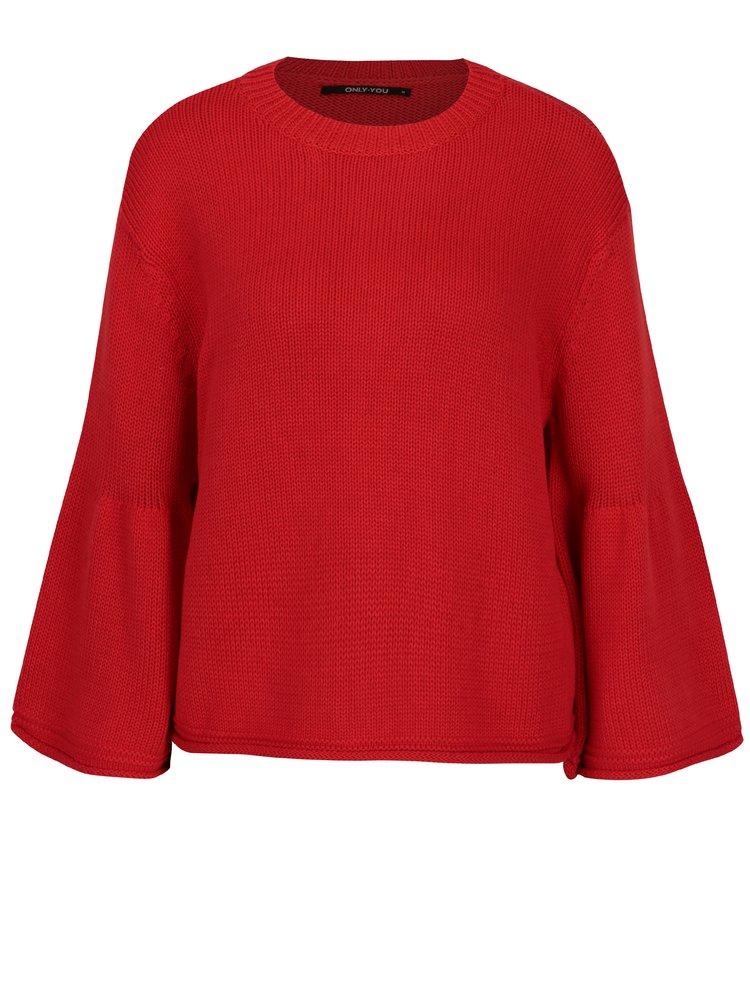 Červený voľný crop sveter ONLY Sana