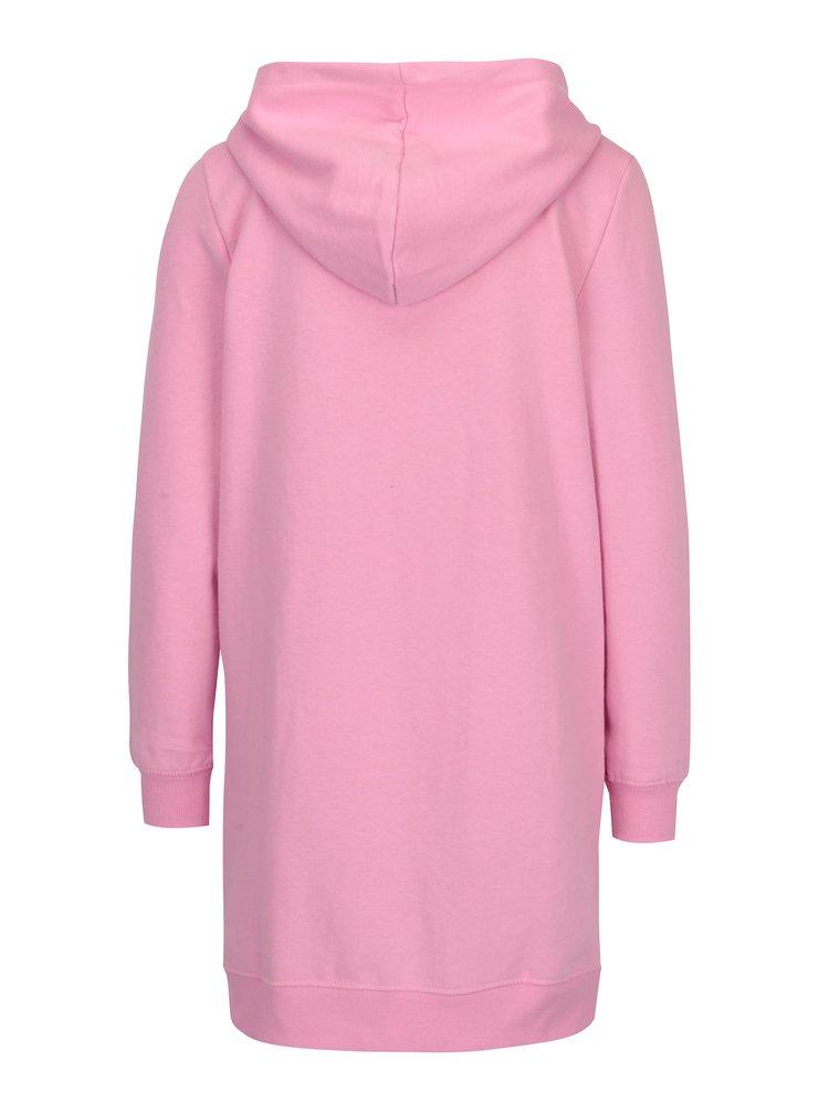 Růžová dlouhá mikina s kapucí ONLY Absolute