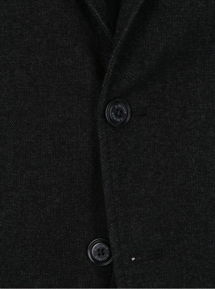 Sacou negru melanj pentru barbati - s.Oliver