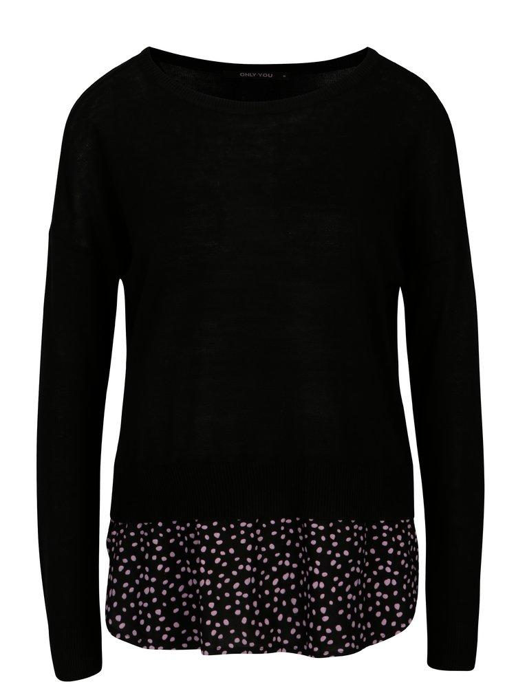 Černý svetr s košilovou vsadkou ONLY Lina