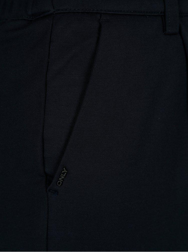 Tmavě modré zkrácené kalhoty s vysokým pasem ONLY Ellie
