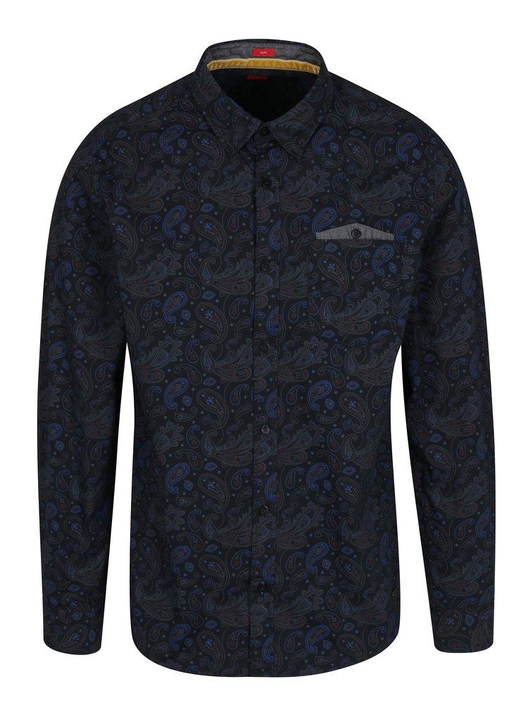 Tmavě modrá pánská vzorovaná slim fit košile s.Oliver