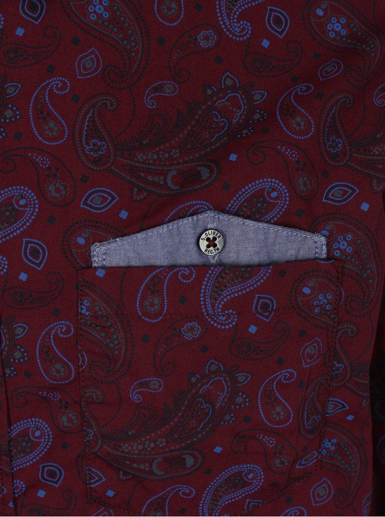 Vínová pánská vzorovaná slim fit košile s.Oliver