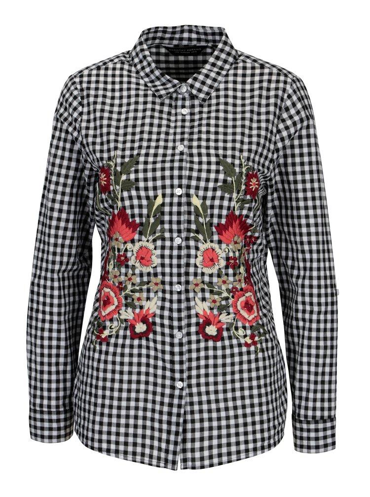 Bílo-černá kostkovaná košile s vyšívanými květy Dorothy Perkins