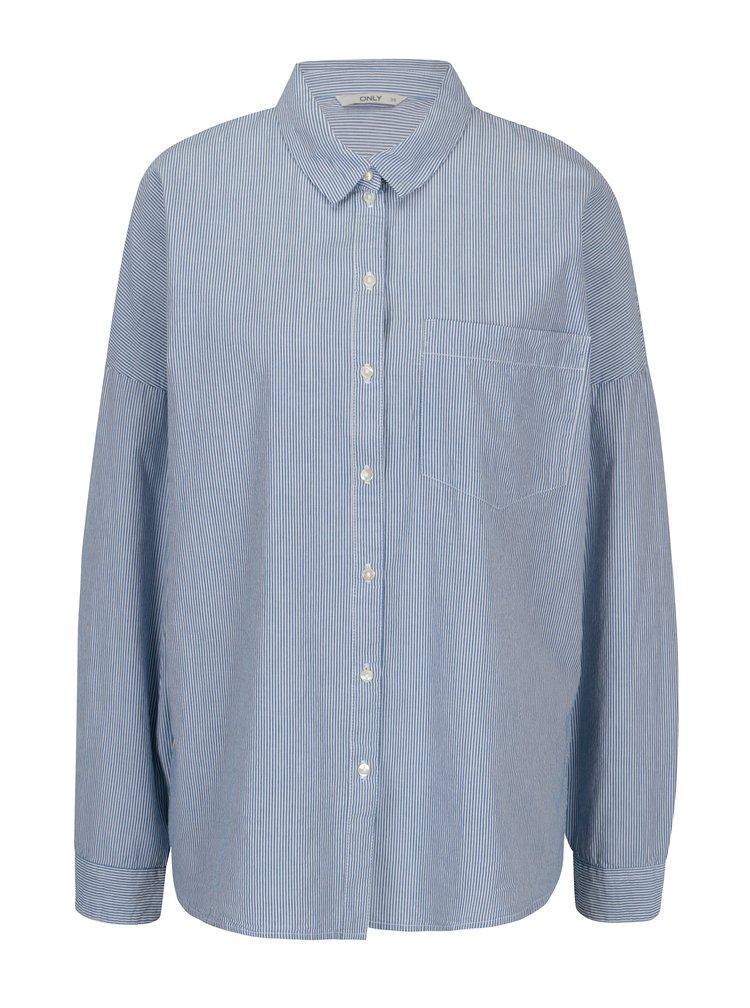 Bílo-modrá pruhovaná oversize košile ONLY Joline