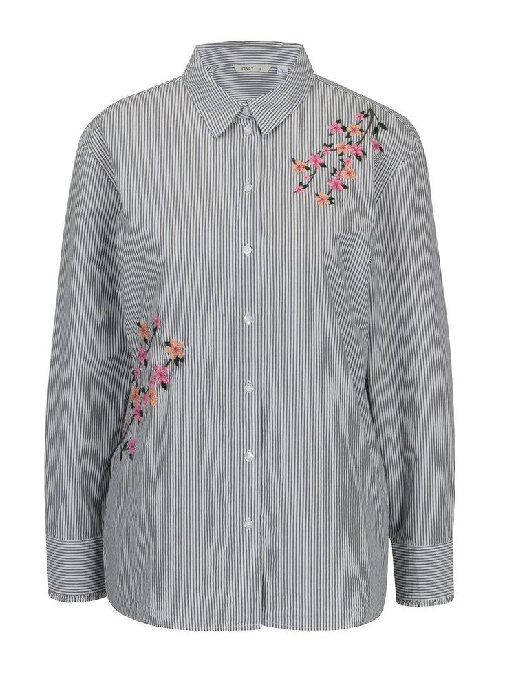 Šedo-krémová košile s výšivkou ONLY Falo