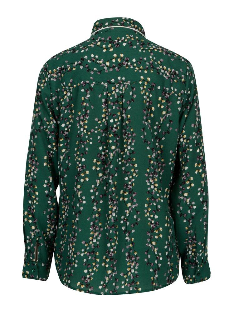 Tmavě zelená květovaná košile ONLY Ditte