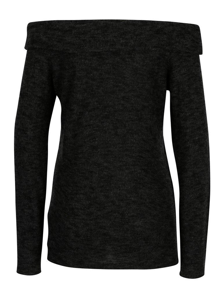 Tmavě šedý žíhaný svetr s odhalenými rameny Dorothy Perkins