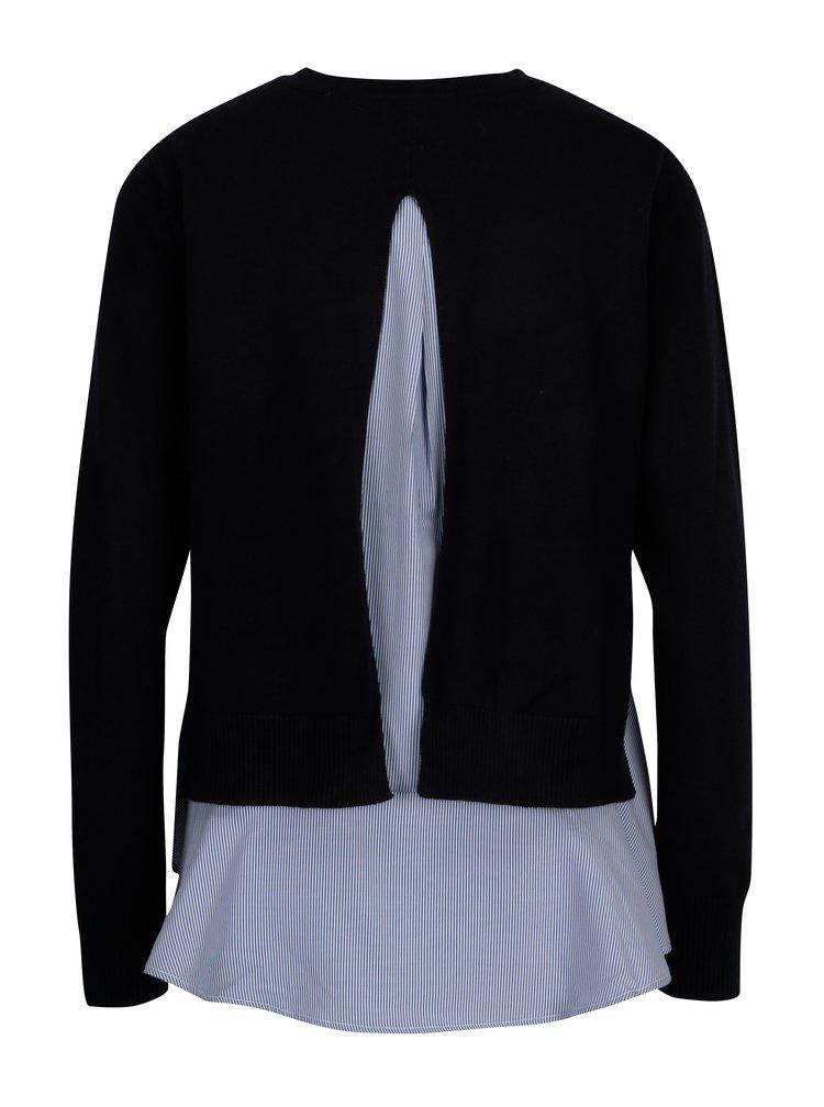 Tmavě modrý svetr s pruhovanou halenkou 2v1 ONLY Latisha