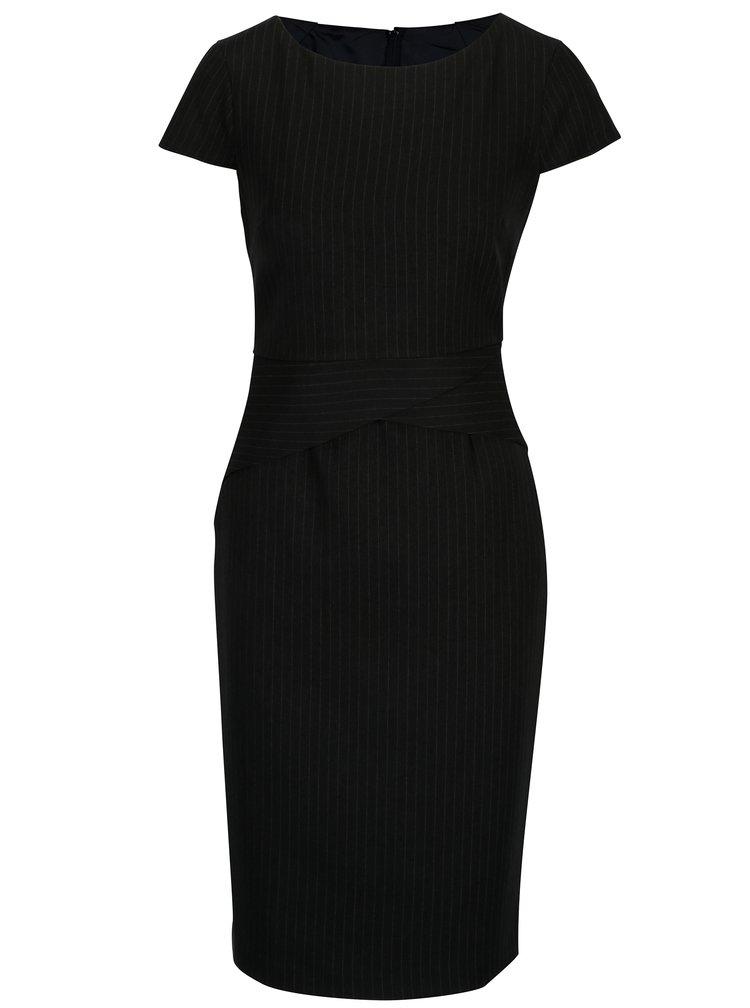 Tmavě šedé pouzdrové pruhované šaty Dorothy Perkins