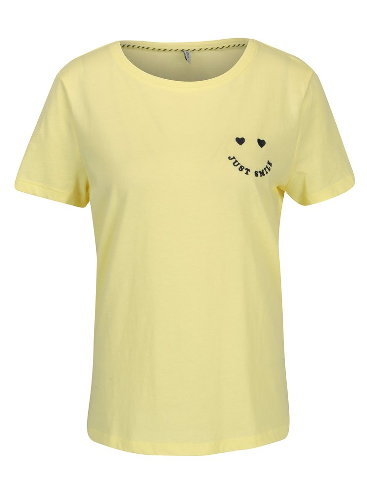 Tricou galben cu broderie - ONLY Kita
