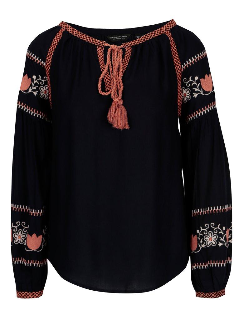 Bluza bleumarin cu broderie florala - Dorothy Perkins